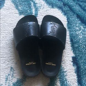 YSL Leather Jimmy Slides with Embroidered Logo.